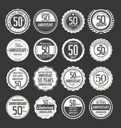 Anniversary retro labels 50 years collection 2 vector