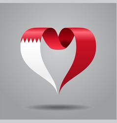 Bahrain flag heart-shaped ribbon vector