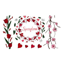 beautiful spring set with flowers and hearts vector image