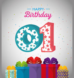 Birthday card with candle number one vector