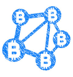 Bitcoin network icon grunge watermark vector