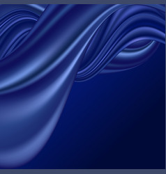 Blue wave silk background smooth satin fabric vector
