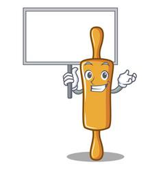 bring board rolling pin character cartoon vector image