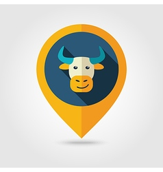 Bull flat pin map icon Animal head vector