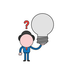 businessman character confused and holding light vector image