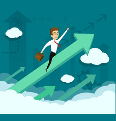 Businessman is flying on a growing graph arrow vector