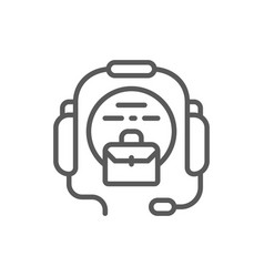 call center headset line icon vector image
