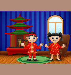 cartoon chinese kids in the living room vector image