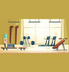 City sport club gym interior cartoon vector