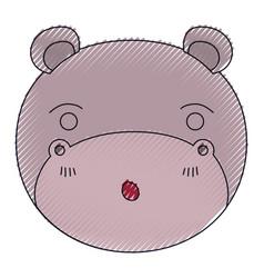Color crayon silhouette cute face of hippo vector