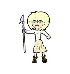 Comic cartoon woman with harpoon vector