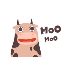 Cow mooing cute cartoon farm animal making sound vector