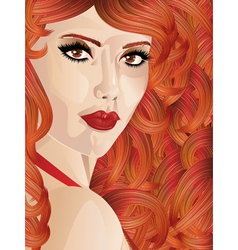 Curly red haired girl vector image