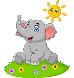 Cute elephant sitting in the jungle on summer time vector