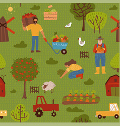 cute farm seamless pattern with tractors carrots vector image