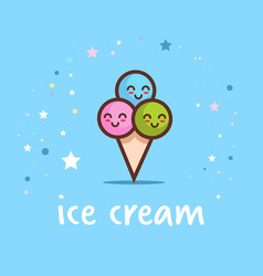 cute ice cream cone cartoon comic character with vector image