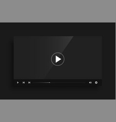 dark black video player template skin design vector image