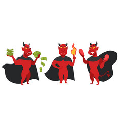 devil with money fire and broken heart character vector image