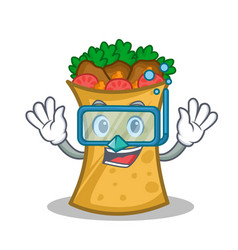 diving kebab wrap character cartoon vector image