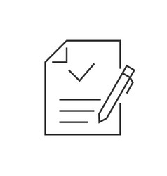 document with checkmark and pen linear icons vector image
