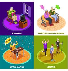 Elderly people isometric design concept vector