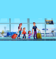 family in airport terminal parents kids luggage vector image