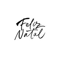 feliz natal hand drawn calligraphy in portuguese vector image