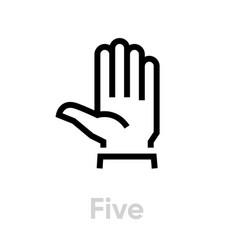 five hand gesture icon editable line vector image