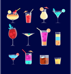Flat cocktails alcohol drinks in glasses with vector