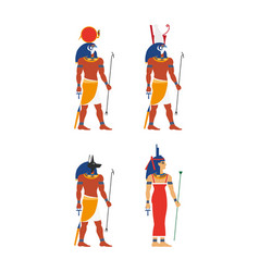 Flat egypt god set vector