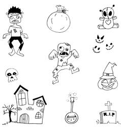 Flat Halloween zombie castle in doodle vector