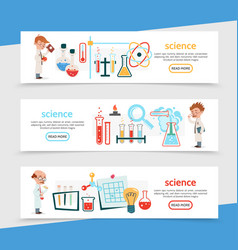 flat science colorful horizontal banners vector image