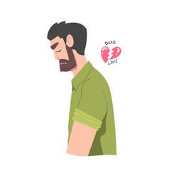 Frustrated bearded man with broken heart feeling vector