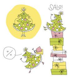fun cute fashionable girl - xmas tree mascot vector image