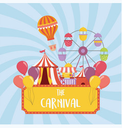 fun fair carnival ferris wheel tent booth air vector image