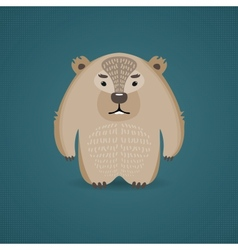 Funny cartoon wombat on dark blue background vector image