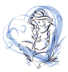 Graceful composition of pregnant woman body vector