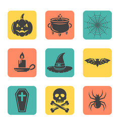 halloween isolated flat design square icons vector image