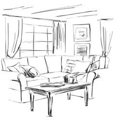 hand drawn room interior sketch sofa table vector image