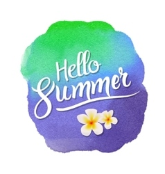Hello summer lettering on watercolor blot vector image