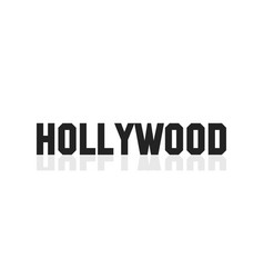 Hollywood lettering banner black letters isolated vector