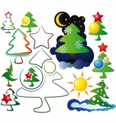 icons and logos christmas trees vector image vector image