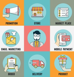 Infographic of process mobile shopping vector image