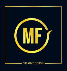 Initial letter mf logo template design vector