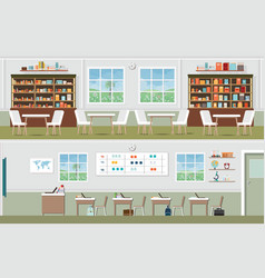 interior of library and classroom vector image