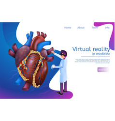 Isometric banner virtual reality in medicine in 3d vector