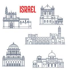 israel landmark churches temple buildings haifa vector image