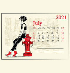 July 2021 calendar with fashion girl in sketch vector