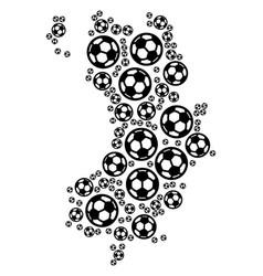 Koh tao thai island map mosaic of soccer balls vector