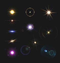 Lens flares set vector